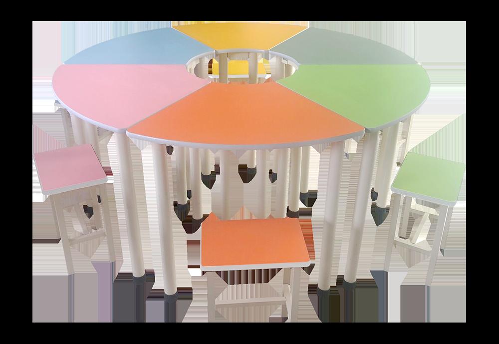 彩色变型团体活动桌椅